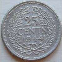 5. Нидерланды 25 центов 1944 год, серебро*