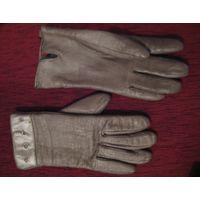 Серо серебристые кожаные перчатки натуральная кожа