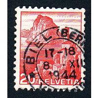 14: Швейцария, почтовая марка, 1936 год, номинал 20с, SG#375A