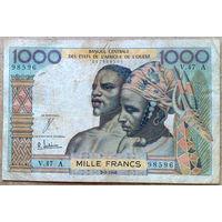 Берег  Слоновой  Кости       1000 франков 1965 P.103A (d.) RR