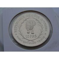 """Кот-д'Ивуар. 10 франков 1966 год  КМ#1  """"Слон""""  """"Серебро"""" Редкая!!!"""