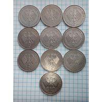 Германия Людвиг Эрхард 2 марки 1988-D- 1989-D- 1990-F-D-J-1991-D- 1992-F-1994-A-G- 1995-A- цена за 1 монету