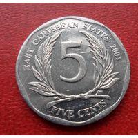 5 центов 2004 года Восточные Карибы -из коллекции