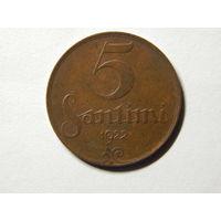 Латвия 5 сантимов 1922г