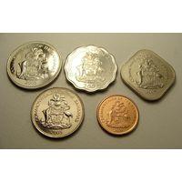Багамские острова. Багамы набор 5 монет 1, 5, 10, 15, 25 центов 2005 - 2009 год