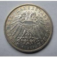 Германия, Любек, 3 марки, 1912, серебро