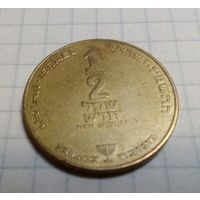 Израиль 1/2 шекеля 1987 РЕДКИЕ (ханука под номиналом)