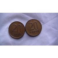 Литва, 20 Centu 1991г.  распродажа