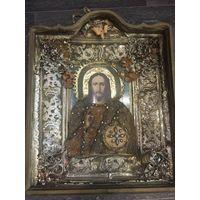 Старинная икона из русской глубинки оклад 45х50х11см