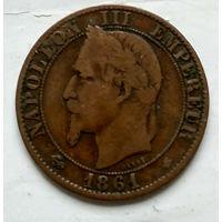 """Франция 5 сантимов, 1861 """"A"""" - Париж 2-8-1"""