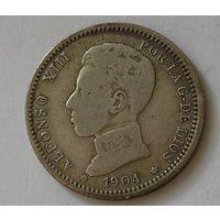 Испания 1 Песета 1904 Серебро (103)