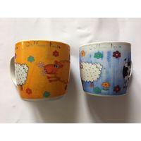 Чашки кружки 300 мл ЦЕНА ЗА ДВЕ Винтажик Крепкие без сколов и трещин Овечки Коровы Лошади