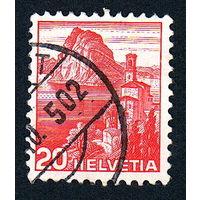 15: Швейцария, почтовая марка, 1936 год, номинал 20с, SG#375A
