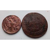 Достойный лот (2) 2 копейки 1763 года,  перечекан с 4-х копеек +денга 1748 года!!! Редкое состояние монет!!! XF+!!! С 1 рубля!!! Оригинал!!!