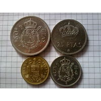 Испания набор 1975: 1 песета 1980, 5, 25 и 50 песет 1978