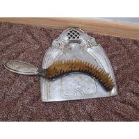 Антикварный набор : совок и щетка для уборки стола, натур. волос