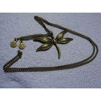 """Медальон """" Стрекоза"""" Латунь. Старая Германия.7,5х5,6 , 80 см."""