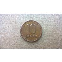 Литва 10 центов, 1991г. (D-8)