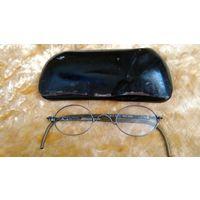 Футляр для очков металлический и очки старинные, довоенные