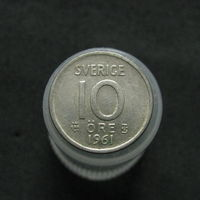 Швеция 10 эре 1961 TS серебро