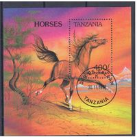[12] Танзания 1993.Фауна.Лошадь.  ГАШЕНЫЙ  БЛОК.