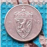 Норвегия 50 оре (центов) 1989 года. Корона. Король Улаф V. Страна Рагнара Ломброка. Инвестируй в монеты планеты!
