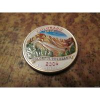 25 центов, цветной квотер США, штат Колорадо