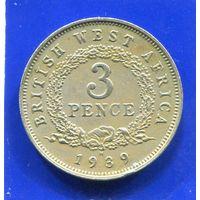 Британская Западная Африка 3 пенса 1939 Н