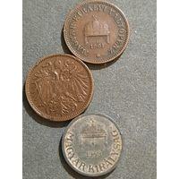 Венгрия , Австро-Венгрия 2 геллера,филлера.( лот из 3х монет)