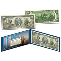 США бона $2 доллара ЗОЛОТАЯ WORLD TRADE CENTER ПОДАРОЧНАЯ