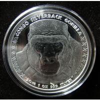 Горилла, Конго, 5000 франков, серебро (инвестиционная)
