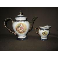 С 1 рубля!Чайник (заварник) сливочник Япония фарфор,золото 24 К.