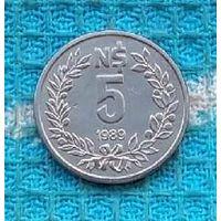 Уругвай 5 песо 1989 года, UNC.
