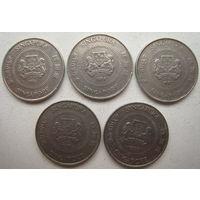 Сингапур 10 центов 1985, 1986, 1987, 1988, 1991 гг. Цена за 1 шт. (g)