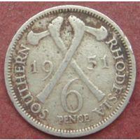 6511:  6 пенсов 1951 Южная Родезия