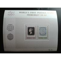 Норвегия 1990 150 лет первой марке блок