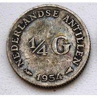 Нидерландские Антильские острова 1/4 гульдена, 1954 1-1-4