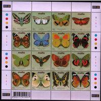 2002 Мальта Фауна насекомые бабочки лист **