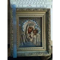 Икона Божья Матерь Казанская. Латунь, 4 эмали 19 век