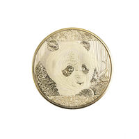 """Китай, юбилейная монета """"Панда"""". позолоченная.  распродажа"""