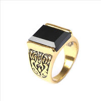 Ретро перстень с чёрным камнем, оникс (имитация). распродажа
