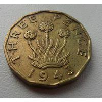 3 пенса Великобритания 1943 г.в. KM# 849, 3 PENCE, из коллекции