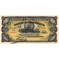 Парагвай, 100 песо, 1912 г., UNC, надпечатка. Редкость