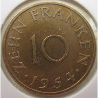 Саар (Саарленд) 10 франков 1954 г. В холдере (gk)