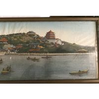 "Картина на настоящем шелке ""Берег реки Хуанхэ"". 20х74 см. Китай, 50-е г.г."