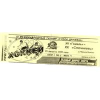 Хоккей. Билет. Кубок Дружбы. Гомель - Сточневец (Гданьск, Польша). 2005.