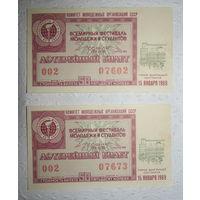 """Лотерейный билет """"Всемирный фестиваль молодёжи и студентов"""",15.01.1969"""