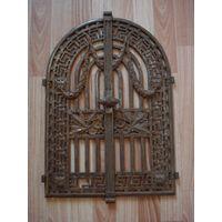 Комплект антикварных каминных дверок большого размера. Красивое художественное литье. Чугун. Вторая половина 19 века.
