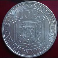 Чехословакия, 10 крон 1928 год.  - Серебро -