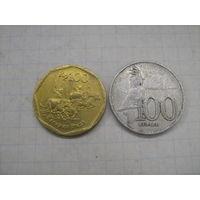 Индонезия 100 рупий 2 шт. разные